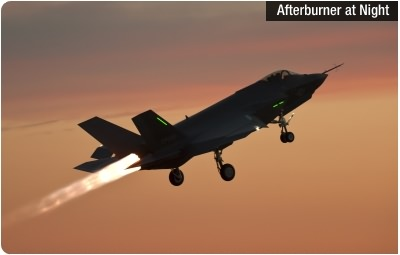 F135 Afterburner at Night